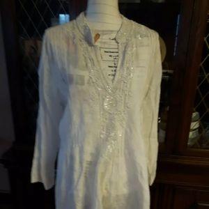 White long sleeve beaded lace blouse